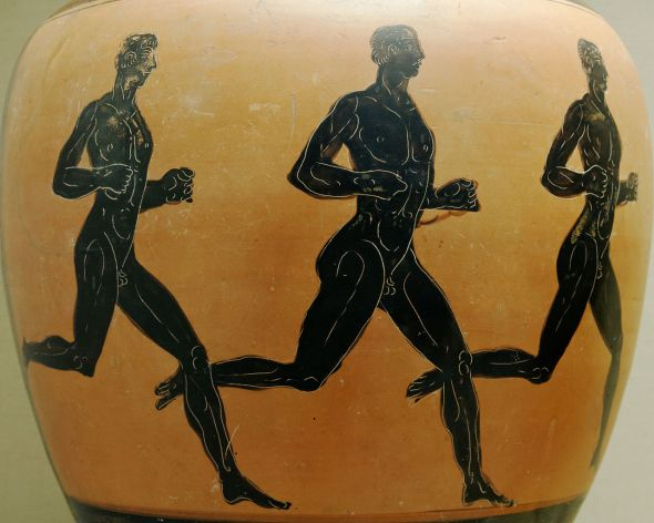 """Three runners. Side B of an Attic black-figured Panathenaic prize amphora"" by Marie-Lan Nguyen is licensed under CC BY 2.5."