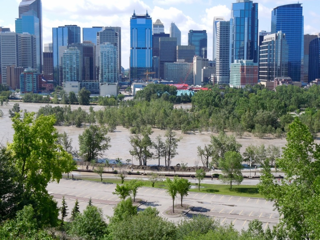 Downtown Calgary after the flood of 2013. Photo by Rodney Steadman